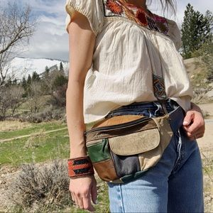 Handbags - Vintage patchwork distressed leather fanny pack